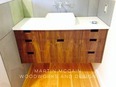 Floating grain matched walnut vanity. Storage Chest, Modern Furniture, Vanity, Woodworking, Cabinet, Design, Home Decor, Dressing Tables, Clothes Stand