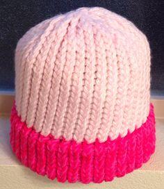 Pink/Light Pink Loom Knit Hat, Adult Size. $15