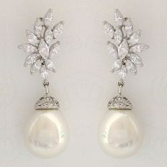 Pear Shape Pearl Drop Earrings with CZ Design