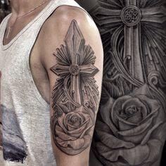 Crucifix Tattoo with a rose