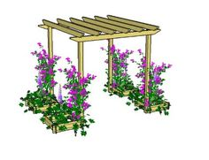 Copyright image: Raised bed used as pergola planters made from the free plans. Copyright image: Raised bed used as pergola planters made from the free plans. Diy Pergola, Pergola Planter, Small Pergola, Pergola Attached To House, Metal Pergola, Pergola With Roof, Outdoor Pergola, Pergola Lighting, Wooden Pergola