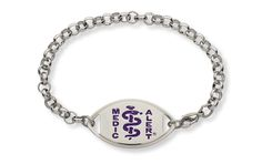 Stainless Steel Violet Belcher Bracelet - Standard Emblem   Australia MedicAlert Foundation #medicalert #medical_ID #medical_bracelet #safety #purple