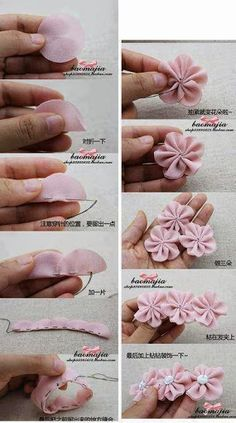 Best 12 Cloth flower making is fun and easy. These cloth flowers look so pretty and are great for adding to brooches, hair clips and necklaces.Ribbon Sakura or plum blossomsThis Pin was discovered by Flo - Sa Diy Bow, Diy Hair Bows, Diy Ribbon, Ribbon Crafts, Flower Crafts, Fabric Crafts, Sewing Crafts, Diy Crafts, Ribbon Work