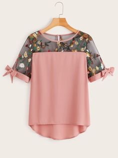 Plus Contrast Mesh Floral Embroidered Blouse Summer Boho Knot Wome. Plus Contrast Mesh Floral Embr Plus Size Blouses, Plus Size Tops, Plus Size Women, Plus Size Kleidung, Couture, Embroidered Blouse, Blouse Designs, Plus Size Outfits, Blouses For Women