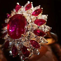 @thejewellcloset  Stunning  Diamond & Ruby Ring by Shri Ram Hari Ram Jewellers