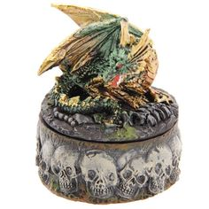 Necromancer's Dragon Skull Apothecary Trinket Box Fantasy Collectable - 13 Black Cats - 2
