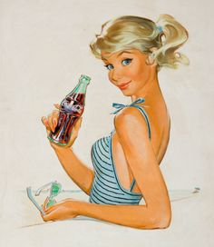 theniftyfifties:    Coca Cola Girl - artwork by Peter Hawley.
