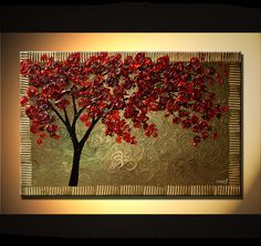 Original abstract art paintings by Osnat - a cherry tree