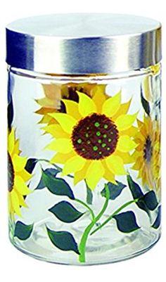 Grant Howard Sunflower Hand Painted Glass Storage Jar, 42 Oz, Multicolor