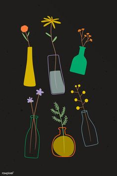 Colorful doodle flowers in vases on black background vector   premium image by rawpixel.com / marinemynt Folk Art Flowers, Doodle Flowers, Hand Drawn Flowers, Flower Doodles, Flower Art, Flower Backgrounds, Black Backgrounds, Free Doodles, Doodle Drawings