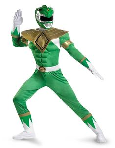 #Trendy Halloween - #Disguise Power Rangers Green Ranger Classic Muscle Adult Mens Costume - AdoreWe.com