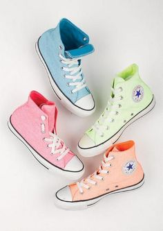 I dont know if i want chuck taylors or all stars but i know i want some converse in these colors Converse Sneakers, Converse All Star, Converse Chuck Taylor, Pastel Converse, Colored Converse, Cheap Converse, Pastel Shoes, Converse High, Cute Converse Shoes