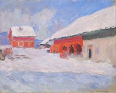 1895 Claude Monet: Red houses in the snow at Bjornegaard Norway