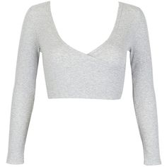 Gray Plunge Neck Long Sleeve Wrap Crop Top (78 BRL) ❤ liked on Polyvore featuring tops, plunging neckline tops, plunge neck top, grey top, long crop tops and wrap style tops