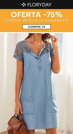 Summer Work Dresses, Simple Dresses, Casual Dresses, Fashion Dresses, Denim Ideas, Mode Outfits, Denim And Lace, Denim Fashion, Cotton Dresses