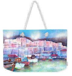Greek Island Paros Naoussa Harbor Weekender Tote Bag x by Sabina Von Arx. The tote bag includes cotton rope handle for easy carrying on your shoulder. Weekender Tote, Tote Bag, Coastal Bathroom Decor, Relaxing Holidays, Colour Images, Staycation, Greek Islands, Basic Colors, Beautiful Artwork