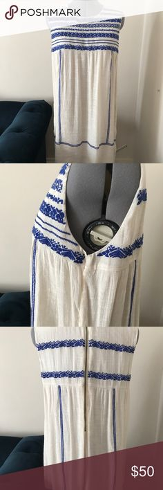 Ivory and blue embroidery shirt dress Spring summer day dress. Comfortable lightweight kinda hippy chic THML Dresses Mini