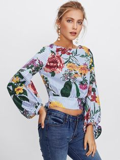 Shop Bishop Sleeve Tie Back Mixed Print Top online. SheIn offers Bishop Sleeve Tie Back Mixed Print Top & more to fit your fashionable needs. Moda Floral, Floral Stripe, Sexy Blouse, Crop Blouse, Tie Blouse, Floral Blouse, Printed Blouse, Floral Tops, Spring Tops