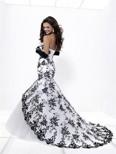 Black and white wedding dress ...