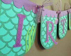 Banner de cumpleaños de pequeña sirena por 1StopKidsPartyShop