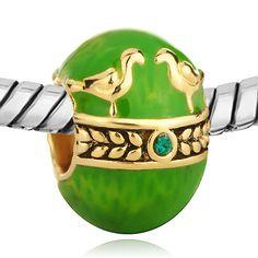 European Charm Bead 22k Gold Plated Faberge Egg Green Birds. $4.50, via Etsy.