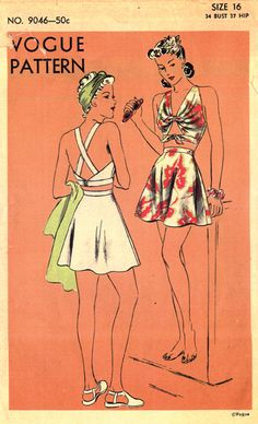 Vogue 9046 circa 1942 bathing suit