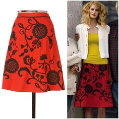 """Anthropologie Ingonish Skirt red embroidered Lithe Super rare classic Anthropologie skirt from c. 2006. This beautiful skirt is a vibrant red color with black embroidery on front and back. In excellent condition. """"Embroidered chinoiserie blossoms of inky black flourish on a swishy, poppy hued A-line skirt. By Lithe. Side zip with button closure. Cotton, cotton lining."""" Lying flat I measured the waist at 13.75"""" across. 22"""" long. Anthropologie Skirts A-Line or Full"""