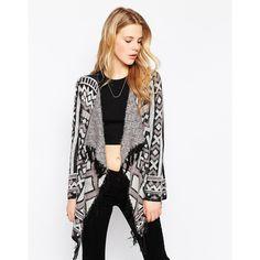 Vila Geo-Tribal Blanket Cardigan ($54) ❤ liked on Polyvore featuring tops, cardigans, light gray melange, lightweight knit cardigan, geo print cardigan, lightweight cardigan, light grey cardigan and knit tops
