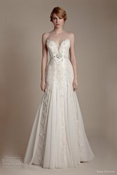 ersa atelier #wedding #dresses 2013 strapless sweetheart french lace tulle #gown #bridal