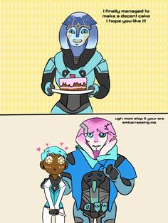 Jaal´s mom is making me cake! shut up Jaal! Let your mom love me and give me cakes (it´s what Ryder think for sure) La mama de Jaal me h. Mass Effect Andromeda - Best Mother in law! Mass Effect Comic, Mass Effect Ships, Mass Effect Funny, Mass Effect Games, Mass Effect Art, Mass Effect Andromeda Jaal, Jaal Mass Effect, Mass Effect Ryder, Mass Effect Romance