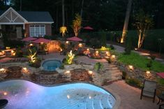 The most creative outdoor patio lighting ideas that everyone wants to use for light up their backyard. Best landscape lighting ideas on Architectures Ideas. Outdoor Landscaping, Backyard Patio, Outdoor Pool, Outdoor Gardens, Backyard Projects, Landscaping Ideas, Outdoor Ideas, Backyard Designs, Pool Designs