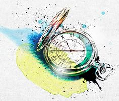 de – Product Illustrations created with watercolors, ink and fineliners: Pocket watch.
