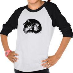 Sold! Thank you to the customer and enjoy! Sleeping Tuxedo Cat Girls' Raglan T-Shirt; Abigail Davidson Art; ArtisanAbigail at Zazzle