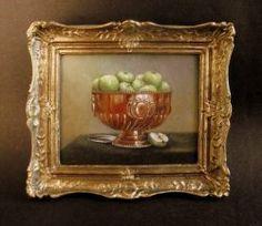 """Green Apples"" by Cindy Lotter Original Paintings, Original Art, Oil Paintings, Small Art, Miniature Furniture, Dollhouse Miniatures, Apples, Artisan, Green"