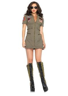 Women's Top Gun Halloween Costume is a great match with costumes for man of Top Gun Flight. This green super sexy short costume will be perfect for Halloween Costumes 2012.