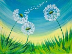 16 EASY Acrylic paintings you can do with cotton Swabs. Q-tip cotton Swab Dandel… 16 EASY Acrylic paintings you can do with cotton Swabs. Q-tip cotton Swab Dandelion with fluff Blowing Easy Beginner Acrylic painting By The Art sherpa Q Tip Painting, Easy Canvas Painting, Acrylic Painting For Beginners, Spring Painting, Acrylic Painting Tutorials, Beginner Painting, Painting Lessons, Easy Painting For Kids, Easy Paintings For Beginners