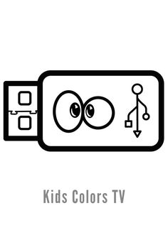 How to Draw Pen Drive Coloring Pages for Kids - Pen Drive Drawing for Kids With Learn Colors Free Printable Coloring Pages, Coloring For Kids, Coloring Pages For Kids, Easy Drawings For Kids, Drawing For Kids, The Draw, Learning Colors, Painting For Kids, Learn To Draw