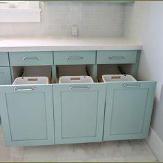 Corner Laundry Hamper Cabinet