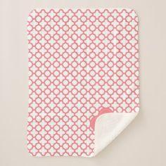 Monogram Blush Pink Quatrefoil Pattern Sherpa Blanket - patterns pattern special unique design gift idea diy