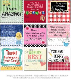 {Free Printable}Teacher Appreciation Notes & Gift Ideas