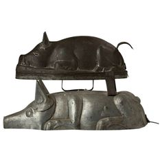 Two 19th Century Tin Pig-Form Cooking Molds | From a unique collection of antique and modern decorative objects at http://www.1stdibs.com/furniture/more-furniture-collectibles/decorative-objects/