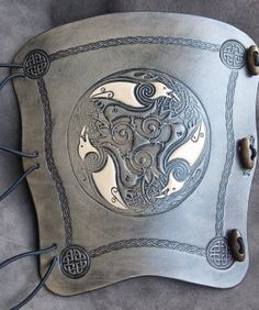 2 tone Smoke Black Celtic Ravens embossed by BigfootLeather, Leather Bracers, Leather Cuffs, Leather Tooling, Celtic Raven, Celtic Pride, Leather Art, Leather Jewelry, Bone Crafts, Arm Guard