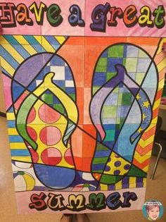 FREE Summer Flip Flop Poster! Students all color one piece of the poster to create a stunning bulletin board display! End of the Year Activities for Teachers with a summer theme! Collaboration posters, coloring pages and more!