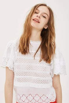 Broderie Ruffle Sleeve T-Shirt - Clothing- Topshop Europe Ruffle Sleeve, Carousel, Topshop, Blouses, Style Inspiration, Embroidery, Crop Tops, Casual, Sleeves