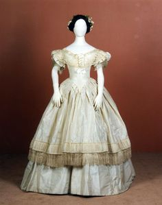 A little earlier than my era, but I lovelovelove the fringe!    Ball gown ca. 1852-57  From National Museums Scotland