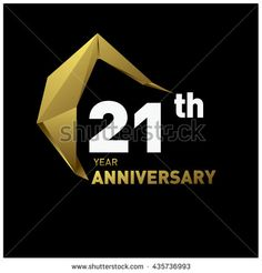 21st anniversary logo with modern gold shape. Anniversary signs illustration. Gold anniversary logo design and illustration