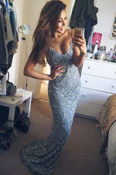 2017 Custom Made Charming Beading Prom Dresses,Sexy Spaghetti Straps Evening Dresses,Sleeveless Prom Dresses