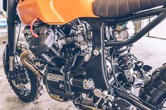 A heavily customized Honda scrambler built by Freeride for a former supermoto racer Ducati, Honda Cx500, Yamaha Yzf R6, Honda Motorcycles, Cx500 Cafe Racer, Scrambler, French Cathedrals, Cx 500, Cafe Racing