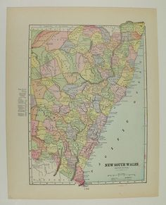 Vintage New South Wales Map Antique Old Victoria Queensland Australia 1900 Map Travel Gifts Under 20 Gifts for Home Couples Geography by OldMapsandPrints