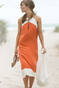 Outfits that matches Amazing Jake's color scheme - Great orange & white summer dress.